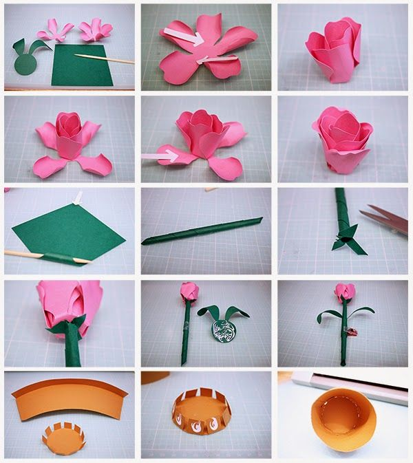 Rose bud flower pot model making pinterest flowers paper rose bud flower pot bud flower flower pots paper plants handmade flowers mightylinksfo