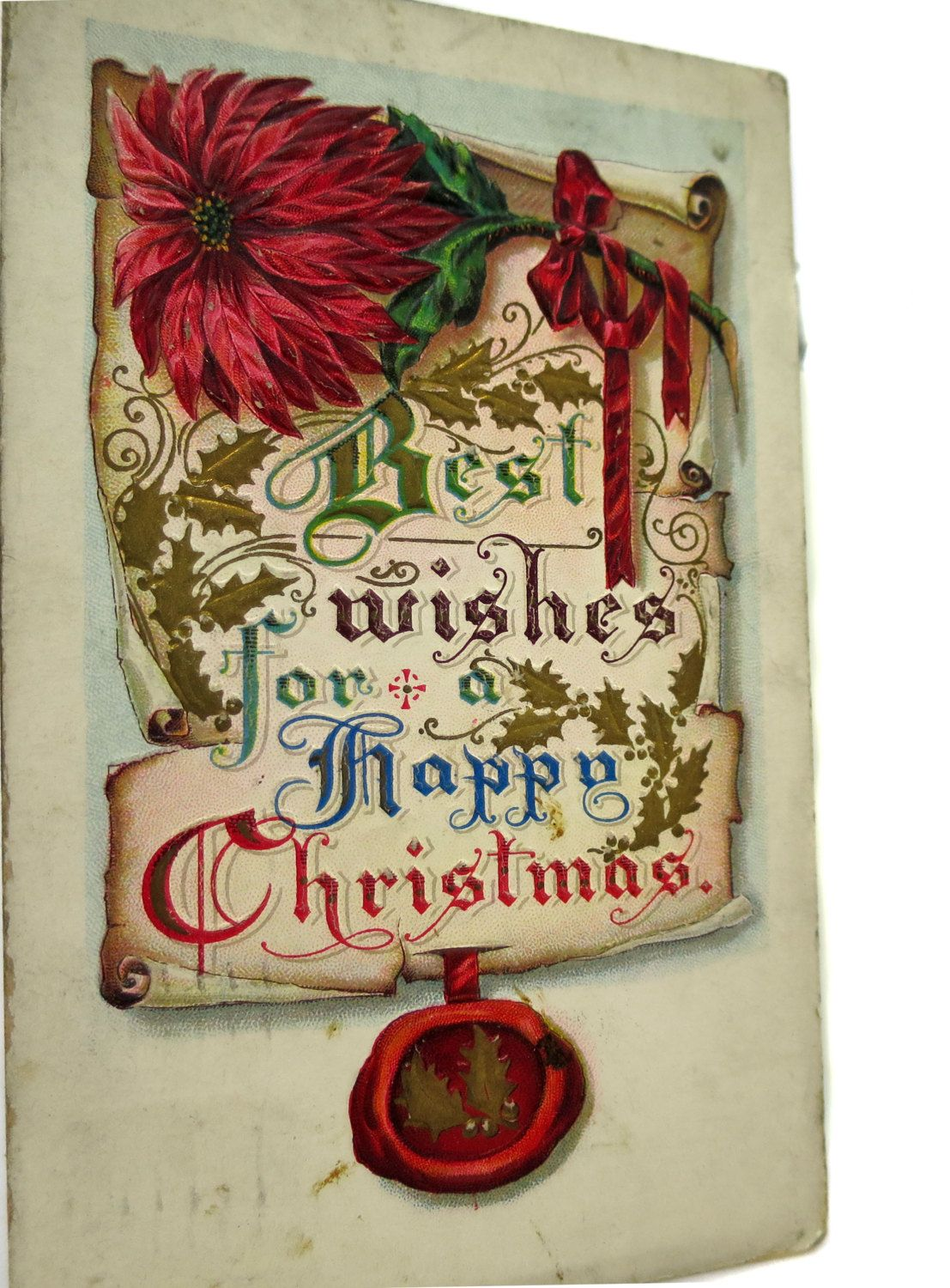 Elegant Edwardian Embossed 1915 Best Wishes For A Happy Christmas Postcard Divided Back Posted by StructureandSpice on Etsy