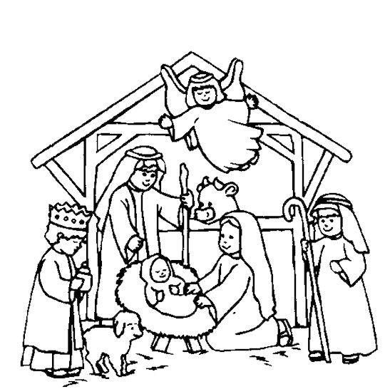 Nativity Scene Coloring Pages Free | kids crafts | Pinterest ...