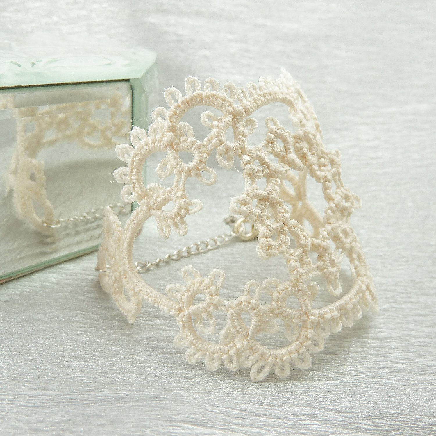 Lace bracelet in cream / lace jewelry / lace fashion / delicate jewelry / handmade lace. £29.00, via Etsy.