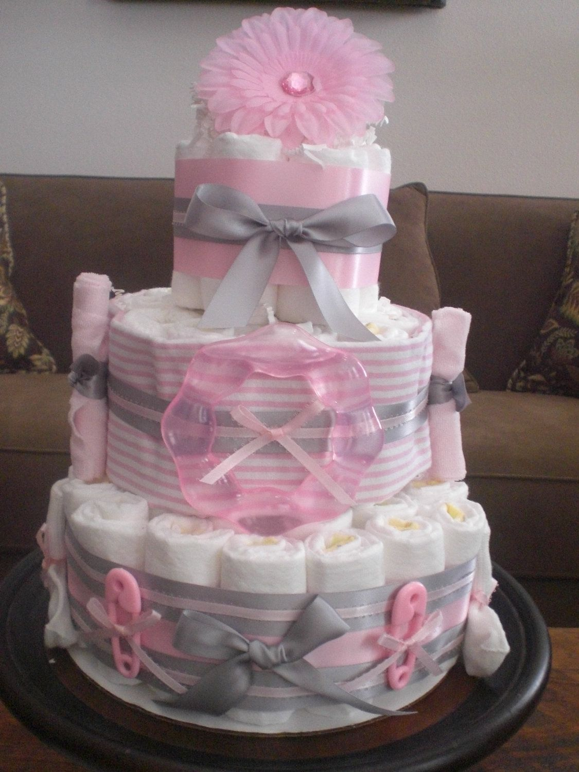 Pink and grey diaper cake baby shower centerpiece other for Pink diaper bouquet