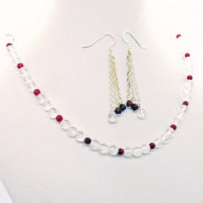 Rock Crystal Red Quartz Necklace Earrings Set Natural Stone Jewelry #quartznecklace