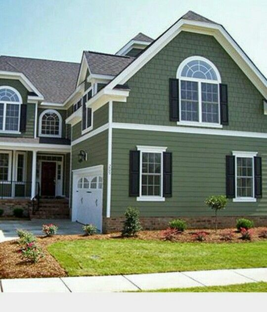 I 39 M Painting Our House This Color With Black Shutters My Home House Colors Green
