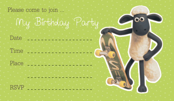 Shaun The Sheep Birthday Party Invitation Card Printable The – Printable Birthday Invitation Cards for Kids