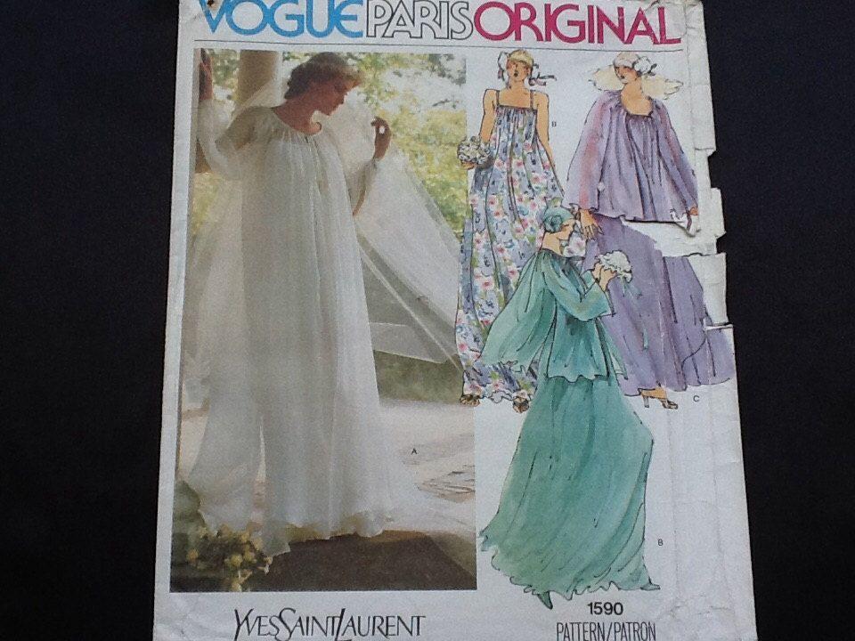 Vogue pattern 1590 vintage uncut 1970s misses 39 yves saint for Yves saint laurent wedding dress