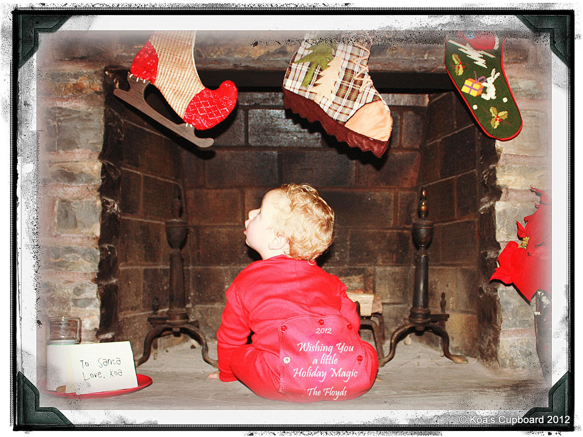 DIY Christmas Card Photo Idea: Baby In Front Of Fireplace With Cookies For  Santa And