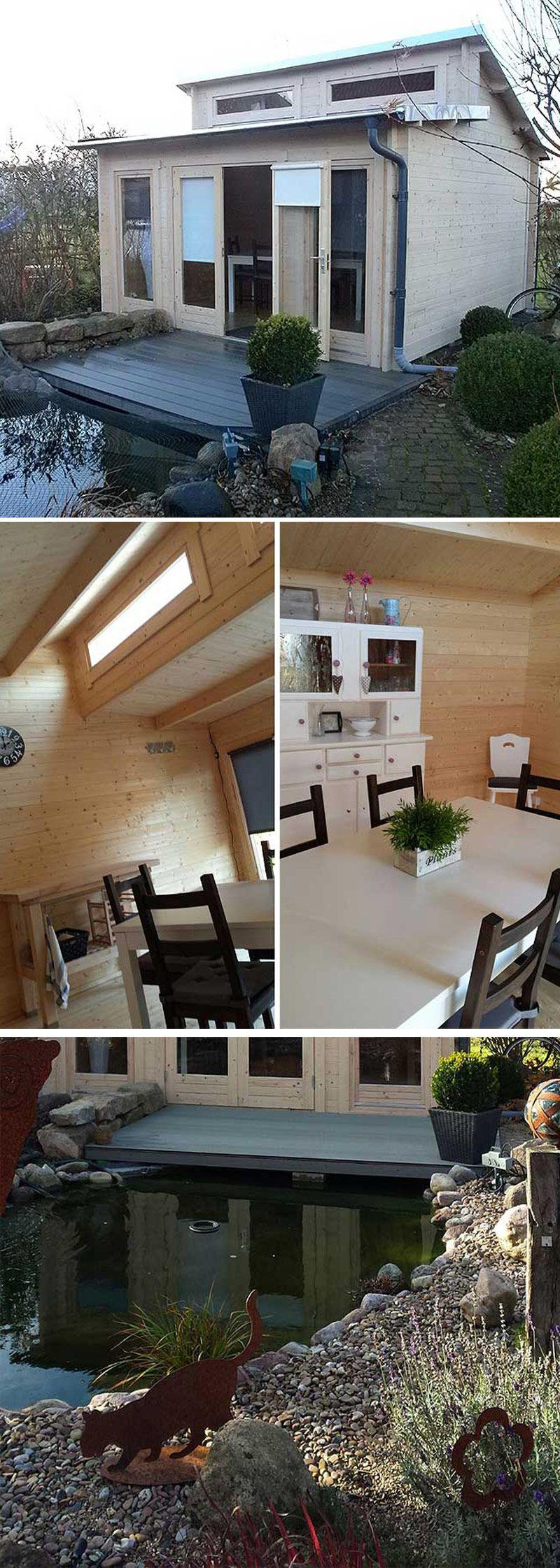 gartenhaus mit stufendach aufbau und einrichtung in bildern die besten kundenprojekte. Black Bedroom Furniture Sets. Home Design Ideas