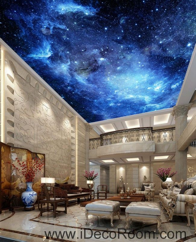3d Wallpaper Mural Night Clouds Star Sky Wall Paper: Galaxy Stars Night Sky 00075 Ceiling Wall Mural Wall Paper