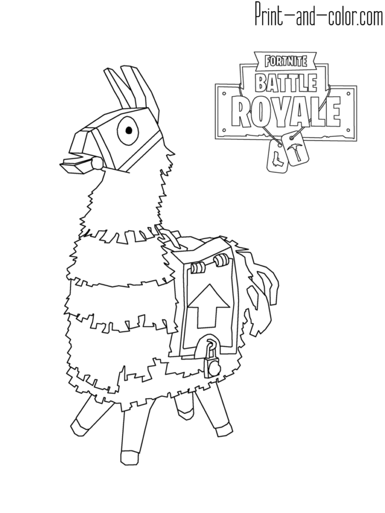 Fortnite Battle Royale Coloring Page Lama Tatoo