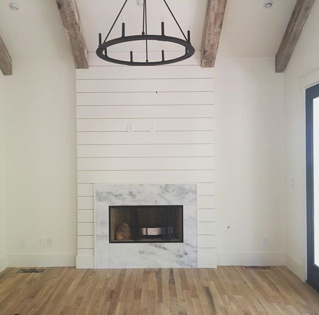 Shiplap With Marble Shiplap Fireplace Fireplace Linear