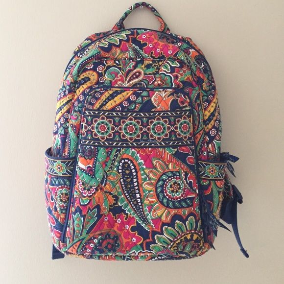 """Flash Sale Vera Bradley Campus Backpack I used this backpack for a year every other week to carry my 15"""" MacBook Pro in the laptop compartment, a 2"""" binder that held my text book, spiral notebook to write in amongst other small things.   No longer need it and is ready for the next scholar  Vera Bradley Bags Backpacks"""
