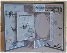 handmade card ... from Velkommen inn: Årets første kort i 2012 ble et brettekort, nå med mal ... fancy fold/pop-up card ... WOW!