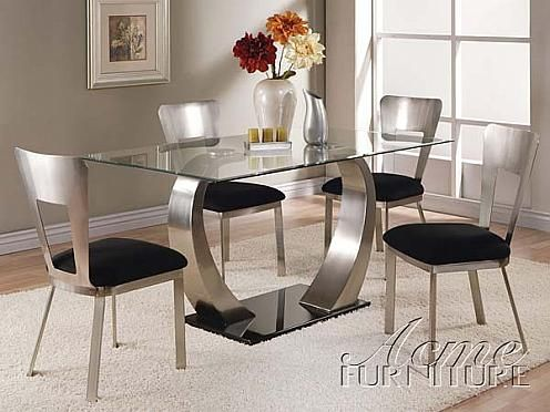 Acme Furniture 8MM Clear Glass Dining Table 5 Piece 10090 Set