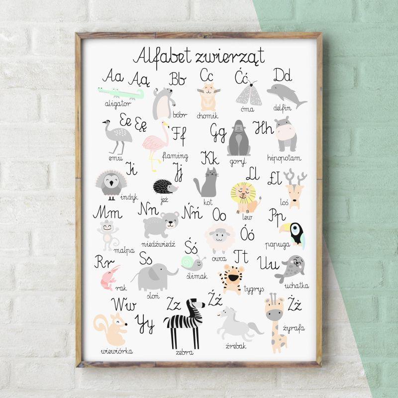 Alfabet Zwierząt Plakat Do Pokoju Dziecka W Stylu