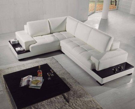 Uk Furniture Point Modern Designer White Leather With Black Accents Corner Sectional Sofa Model T71c Amaz Muebles Sala Muebles Bano Moderno Muebles Para Tv