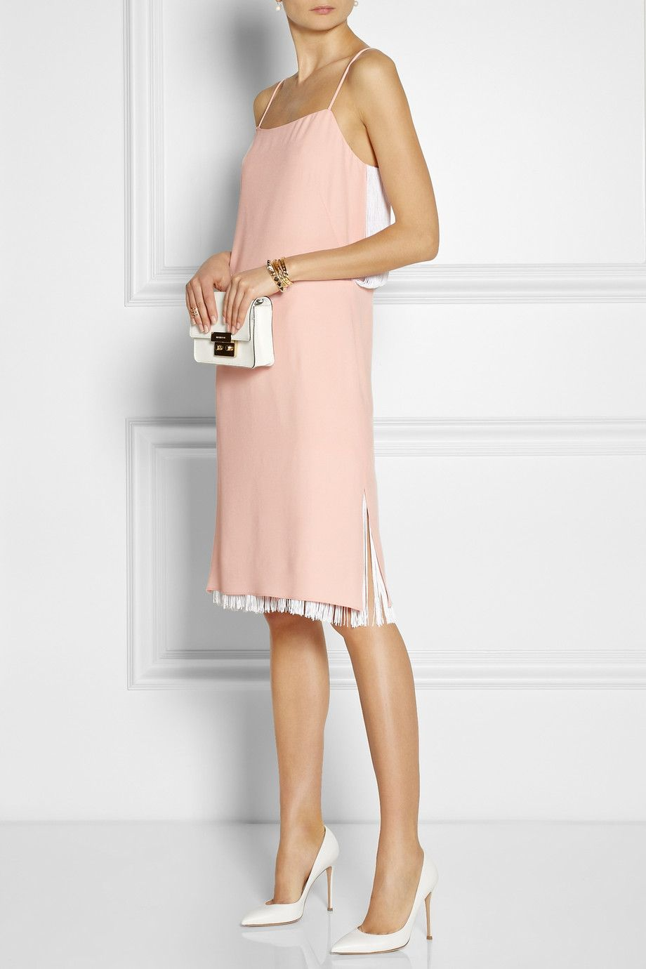 Adam Lippes | Fringed crepe dress | Gianvito Rossi | Leather pumps ...