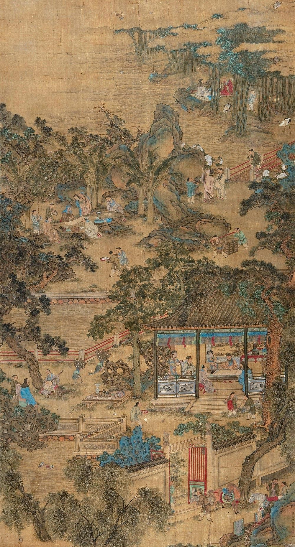 A party in a residential garden, ink painting by Qiu Ying (仇英 1494 ...