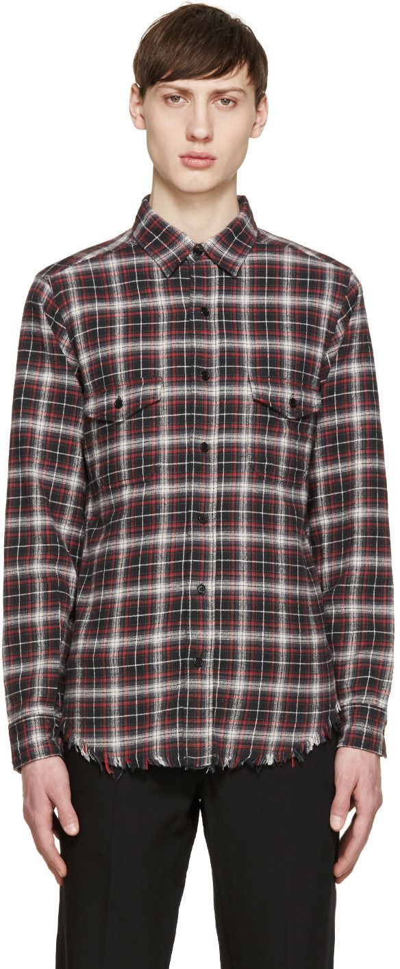 Red flannel shirt black jeans  Saint Laurent  Red u Green Flannel Check Shirt  Fashion  Want