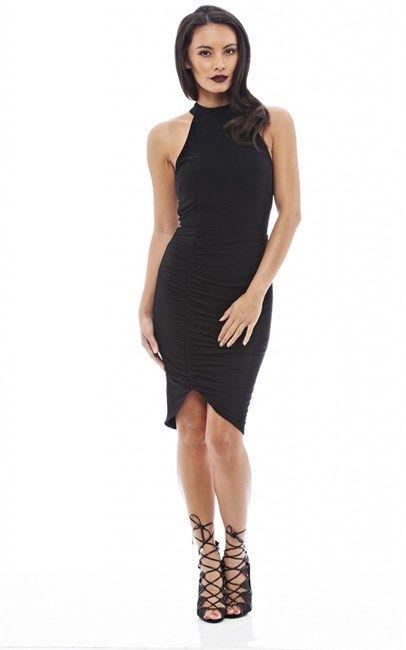 Ax Paris High Cut In Neck Mini Dress With Ruche Detail Black