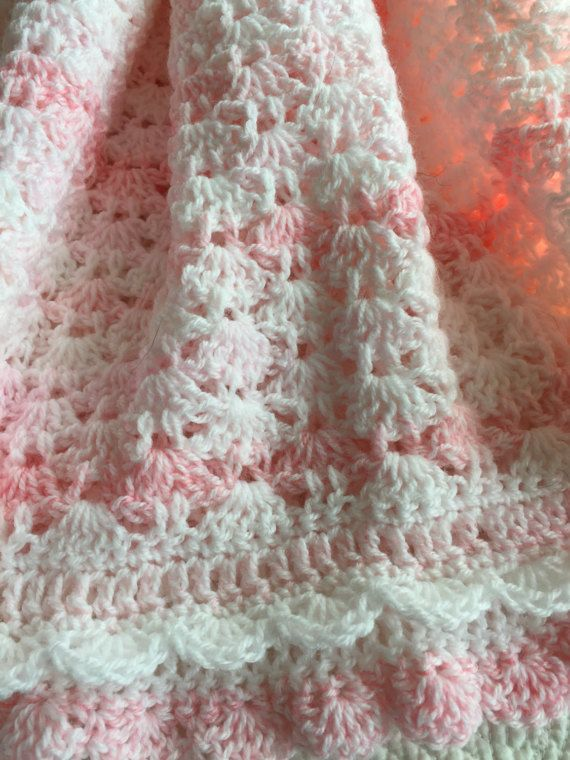 Soft and Cozy Baby Afghan in Pink and White, Pink Crochet Baby ...