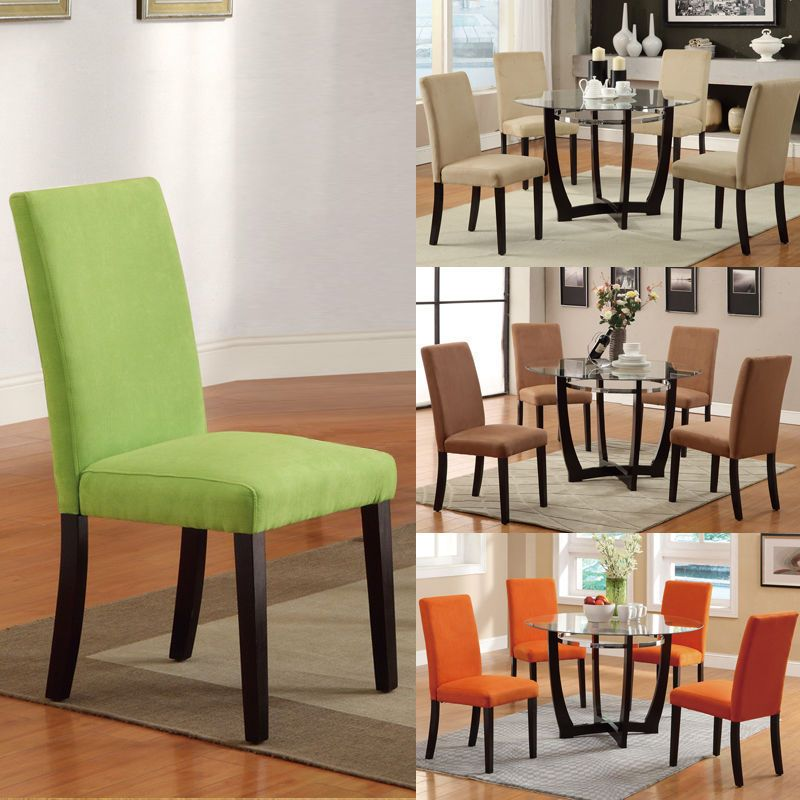 set of 6, Microfiber Parson Dining chairs Orange Apple Green 4 COLORS #Contemporary