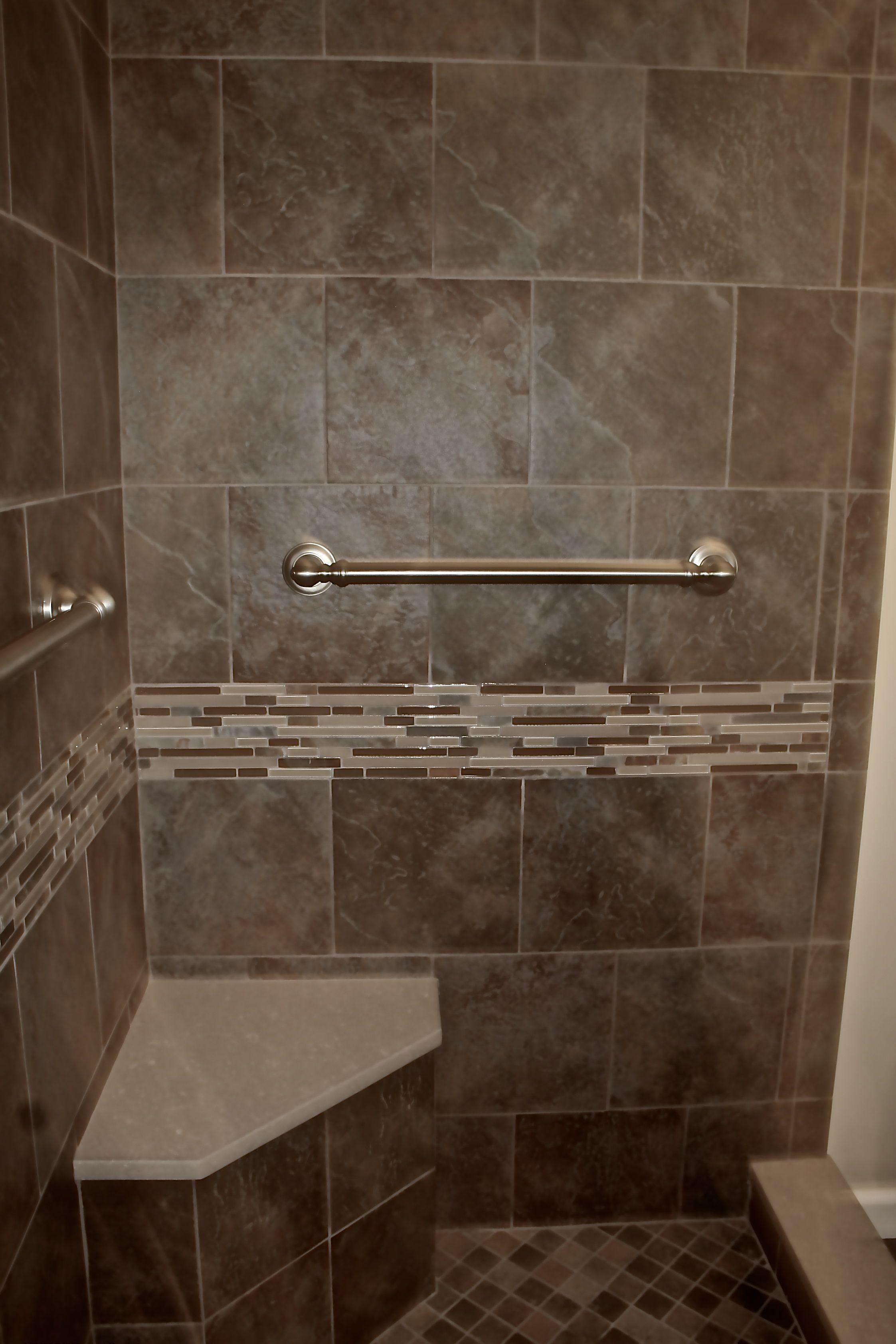 Contemporary Bathroom Remodel Slate Tiled Frameless Glass Shower Mosaic Glass And Slate Contemporary Bathroom Remodel Kitchen And Bath Remodeling Bath Remodel