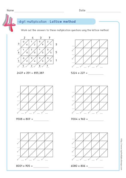 Lattice Multiplication 4 Digit By Worksheet 3 Lattice Method Lattice Multiplication Multiplication
