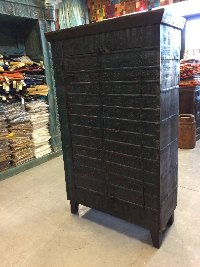 Distressed Eclectic Blue Iron Cladded Rustic Wooden Southern Armoire # Armoire #furniture