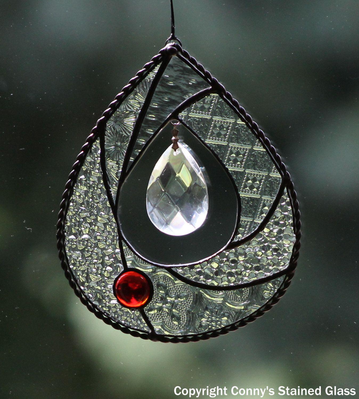 Teardrop Stained Glass Suncatcher by connysstainedglass on Etsy