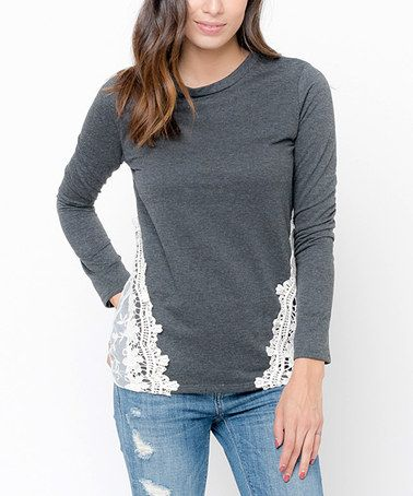 Loving this Charcoal Crochet-Accent Sweatshirt on #zulily! #zulilyfinds