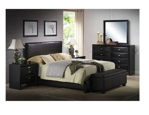 BLACK Faux Leather Queen Size Bed Set Bedroom Headboard Footboard ...
