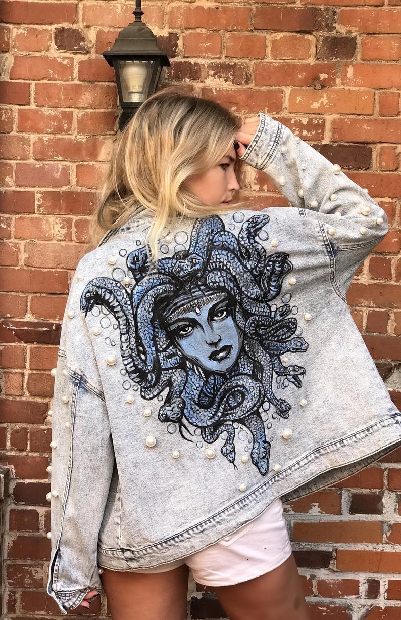 MEDUSA | Hand Painted, Pearl-Beaded Custom Denim Jean Jacket