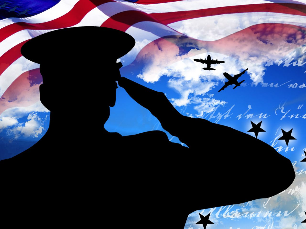 Usa Symbols Silhouette Beautiful Veterans Day Wallpaper Made From