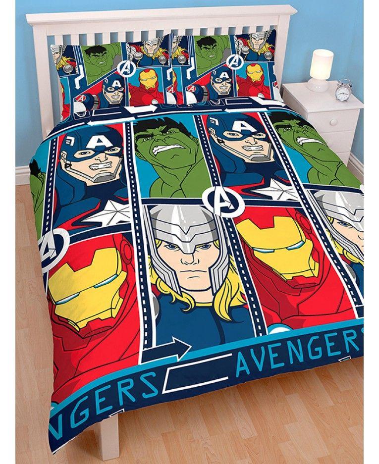 """Disney /""""Marvel Avengers TECH /"""" Single  Rotary Duvet Cover and Pillow Case Set"""