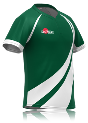 bc6806d18e Nice airy design in green and white stripes. Rugby shirt design by  Samurai-Sports. This or the bespoke design of your choice custom made for  your team at ...