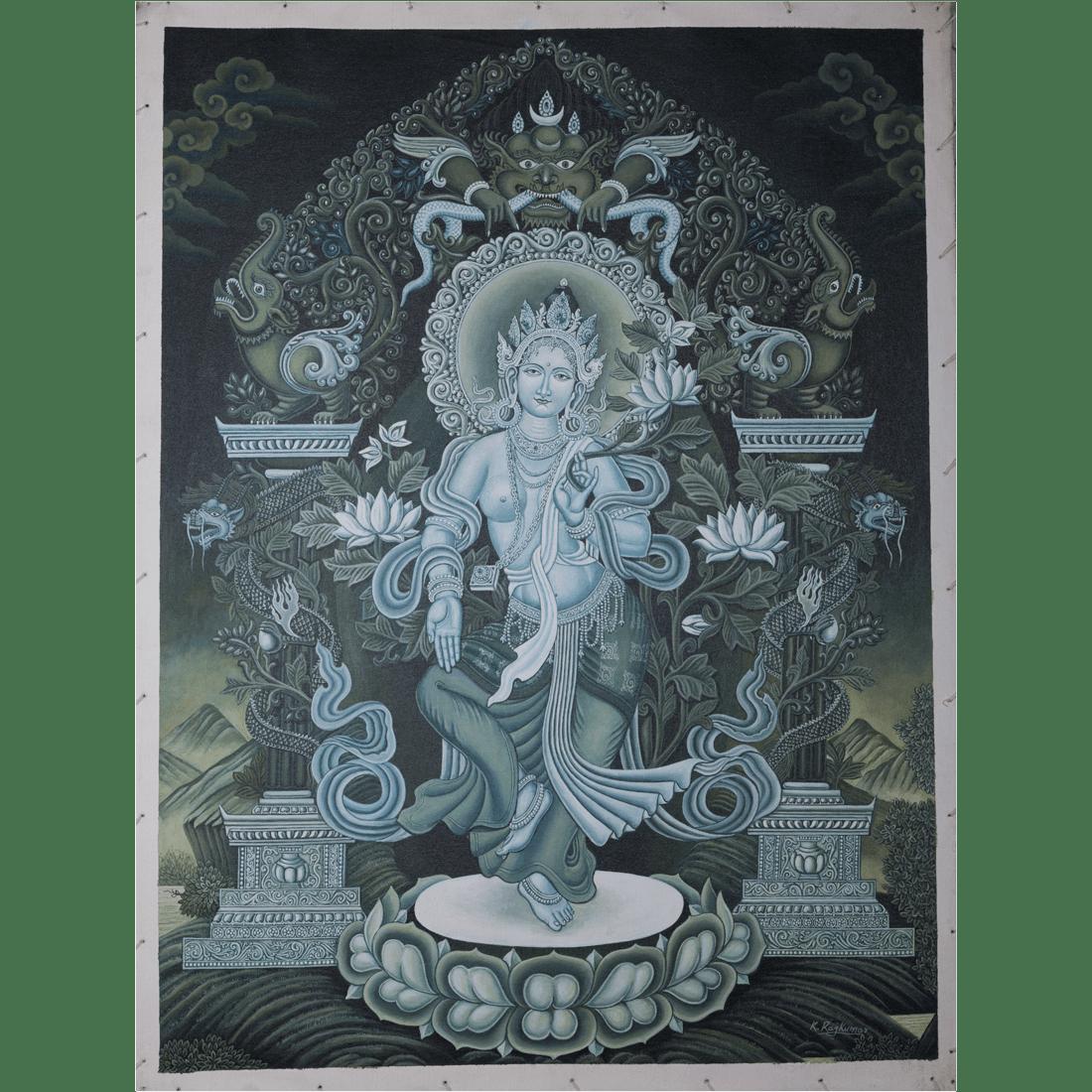 Tibetan Silk Nepal Thangka Embroidery Shakyamuni Buddha Green tara