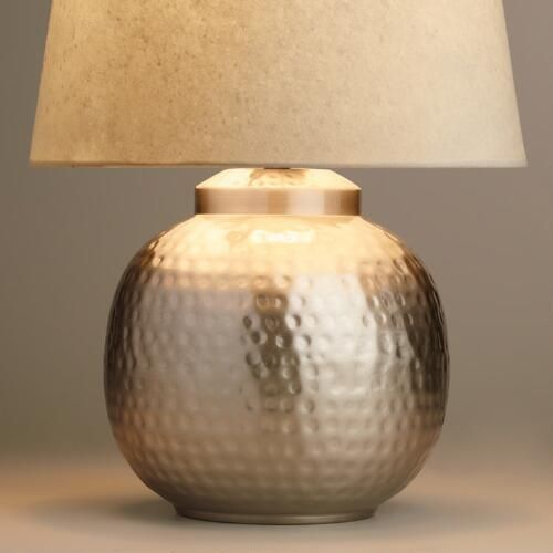 Hammered Pewter Accent Lamp Base Candelabro Rustico Luminaria Lampadas Modernas