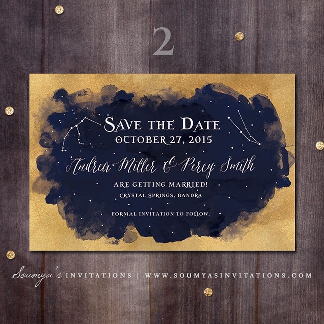 Top Gold and Navy Blue Wedding Save the Date, Starry Night  HJ74