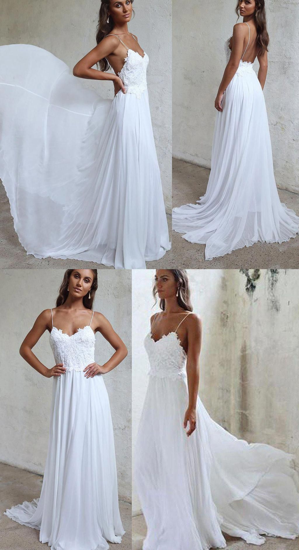 c1a83f8a0fae Boho Spaghetti Straps Beach Wedding Dress, Long Chiffon Bridal Dress with  Lace W44 #whiteweddingdress #spaghettistrapbridaldress #fashion #women  #chiffon ...