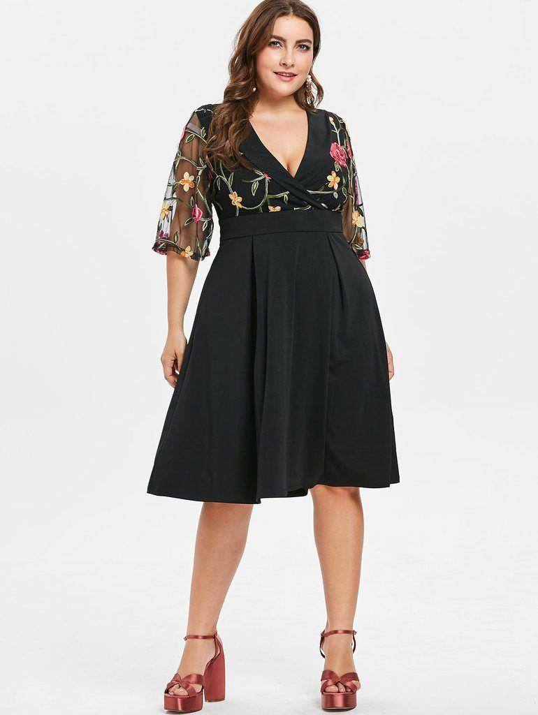 719a9827e52 Wipalo Embroidery Surplice Women Dress Plus Size Flare Print Female ...