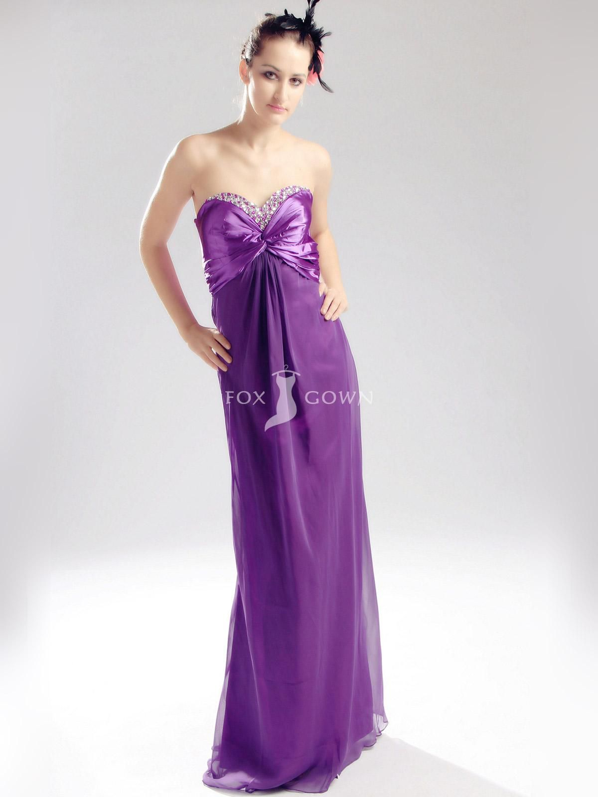 Purple Strapless Prom Dress - Ocodea.com