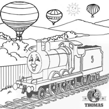 2 Tank Engine James And The Red Balloon Ride With Hot Air Balloon Coloring Page Children Train Coloring Pages Valentines Day Coloring Page Witch Coloring Pages