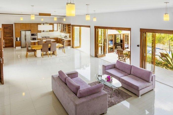 wohnungseinrichtung ideen wohnzimmer lila couch ovaler couchtisch