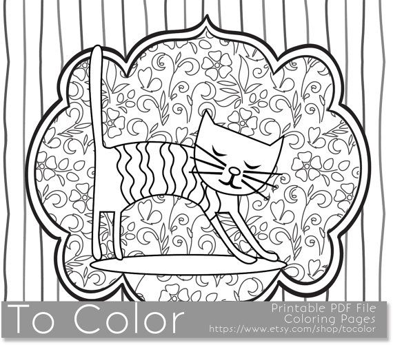 Printable Whimsical Cat Coloring Page For Adults PDF JPG Instant Download Book Sheet Grown Ups Digital Stamp