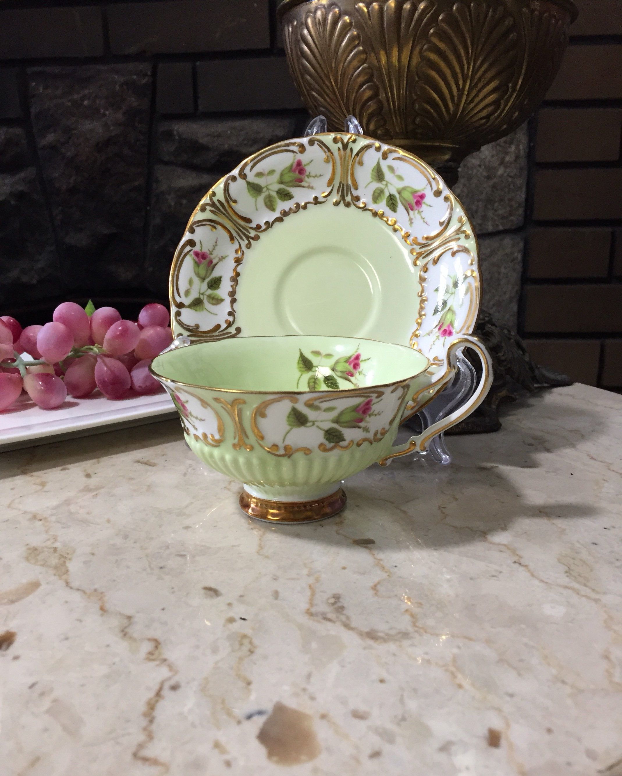 Eb Foley China Vintage Teacup  Mint Green And Gold