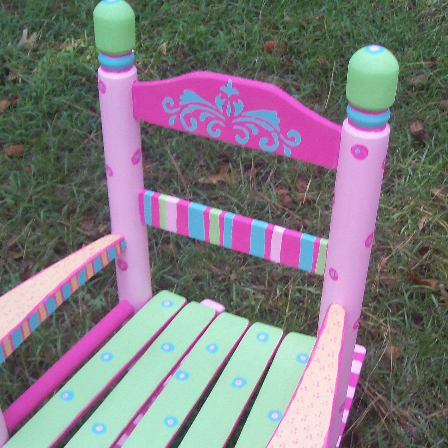 Rocking+Chair+Hand+Painted+Sherbet+Color+Rocking+by+vivyscloset,+$130.00