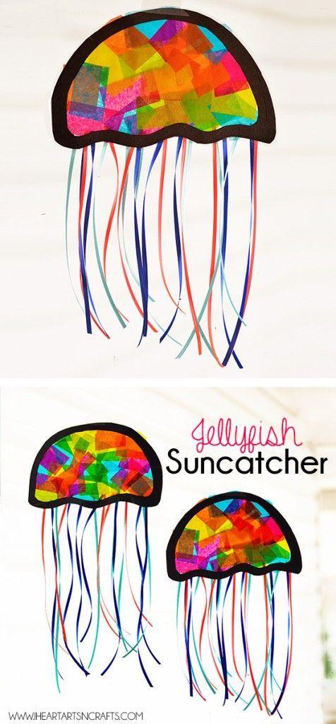 Suncatcher Jellyfish Kids Craft - I Heart Arts n Crafts#arts #craft #crafts #heart #jellyfish #kids #suncatcher