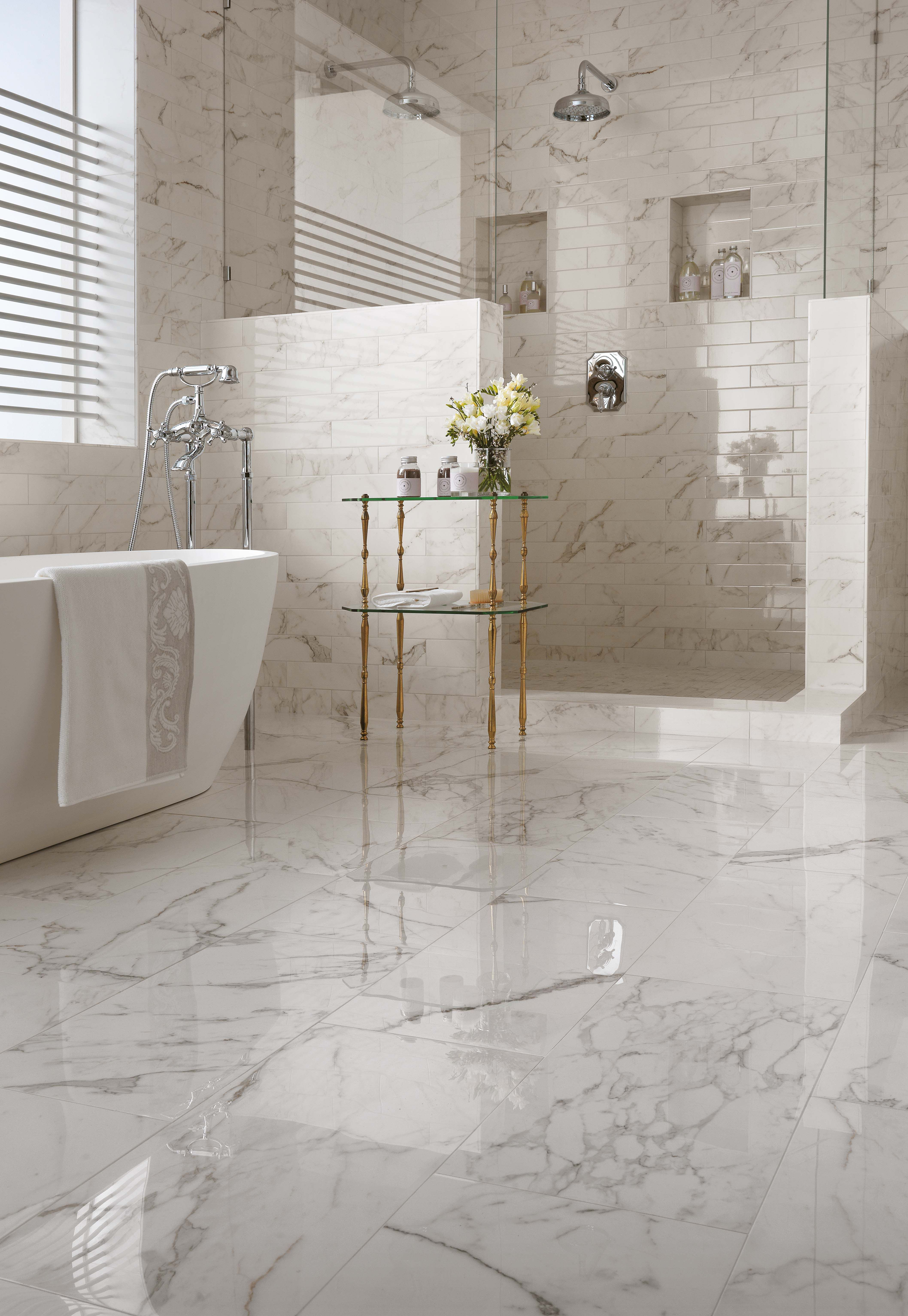 Marble Inspired Tiles For First Class Brilliant And Luminous Walls Bathroom Inspiration Color Bathtub Small Bathroom