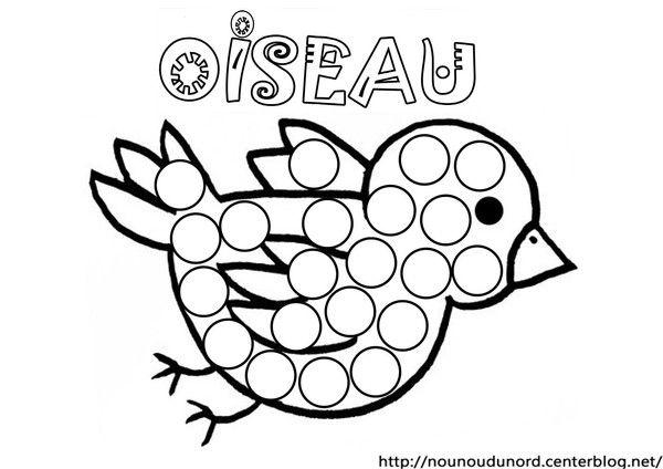 Coloriage oiseau gommettes dessin par nounoudunord imprimer en fichier pdf cliquez - Mes coloriages a imprimer ...