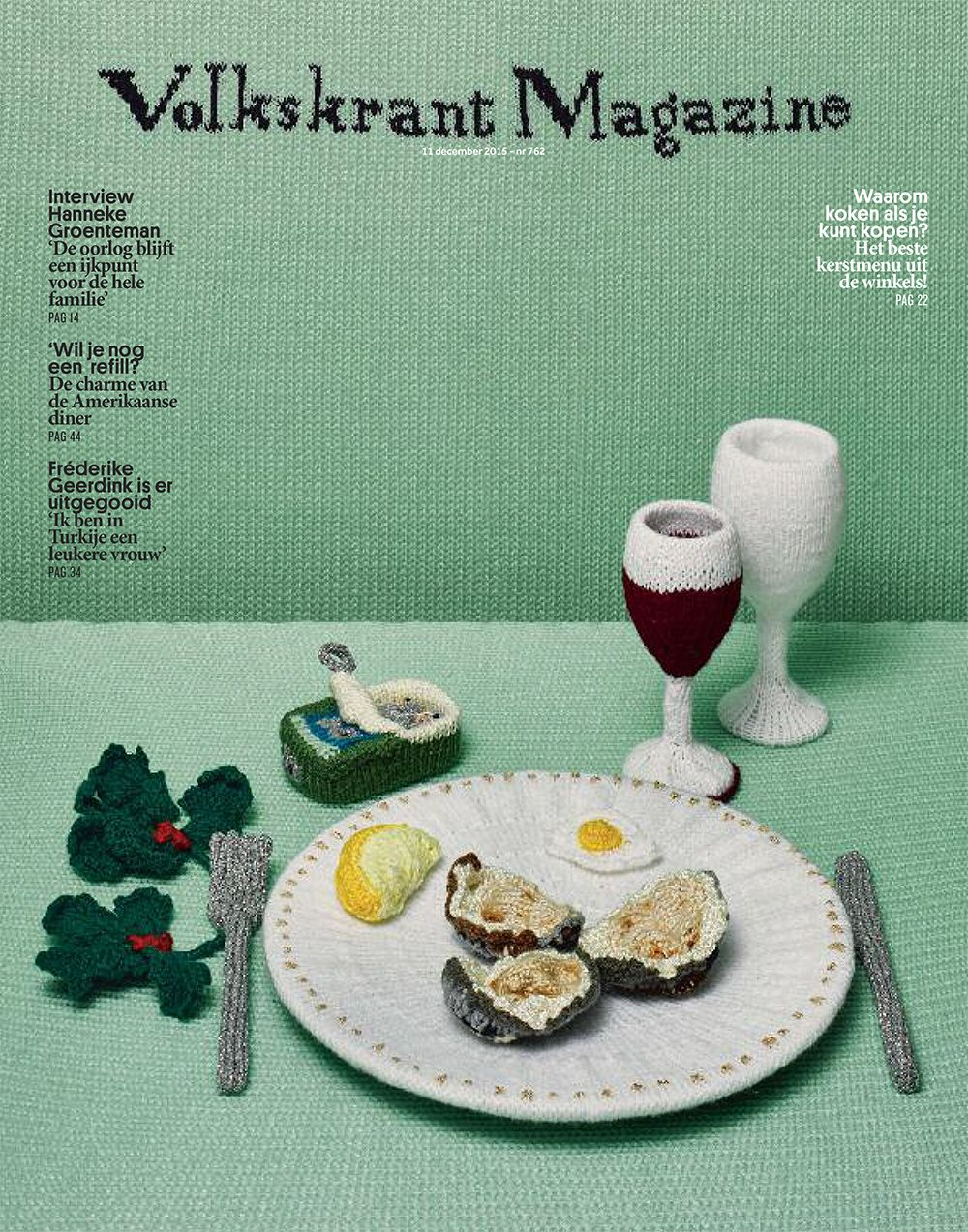 Knitted food: oysters, wine and sardines for Volkskrant
